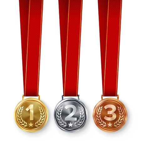 Champion Medals Set Vector. Metal Realistic First, Second Third Placement Achievement. Round Medals With Red Ribbon, Relief Detail Of Laurel Wreath. Competition Game Golden, Silver, Bronze Achievement