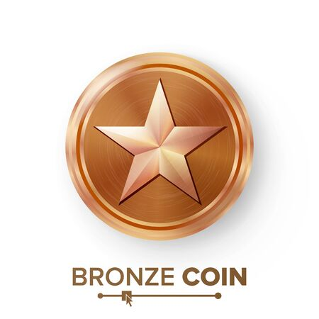 star award: Game Bronze Coin Vector With Star. Realistic Bronze Achievement Icon Illustration. For Web, Video Game Or App Interface.