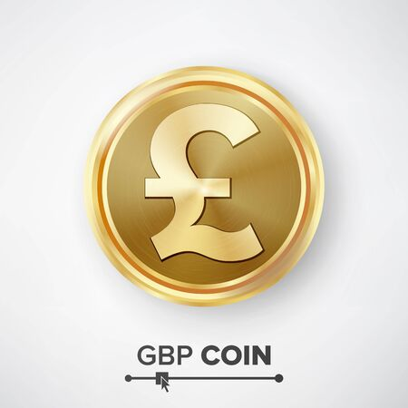 profusion: GBP Gold Coin Vector. Realistic Money Sign Illustration