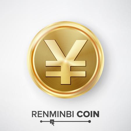 Renminbi Yuan Gold Coin Vector. Realistic Money Sign Illustration Illustration