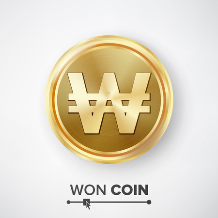 Won Gold Coin Vector. Realistic Korean Money Sign Illustration