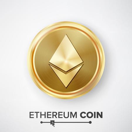 Ethereum Coin Gold Coin Vector.