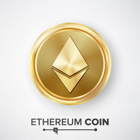 Ethereum Coin Gold Coin Vector.