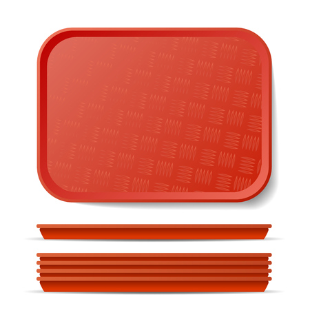 Red Plastic Tray Salver Vector. Classic Rectangular Red Plastic Tray, Plate With Handles. Top View. Restaurant, Fast Food, Kitchen Close Up Tray Isolated Illustration