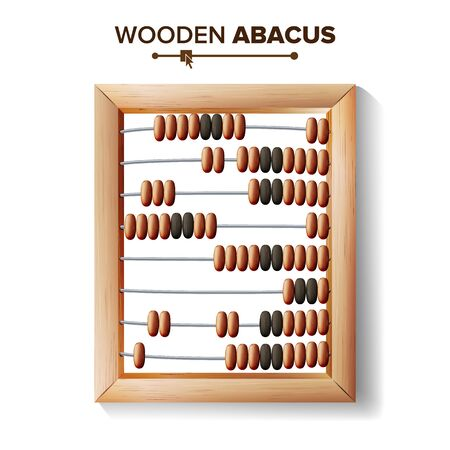 Abacus Close-up. Vector Illustration Of Classic Wooden Abacus Long Before The Calculator. Shop Arithmetic Tool Equipment. Isolated