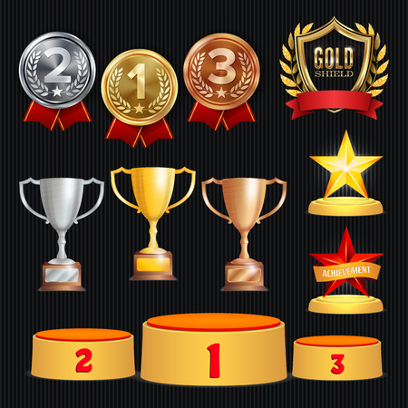 Award Trophies Vector Set. Achievement For 1st, 2nd, 3rd Place Ranks. Ceremony Placement Podium. Golden, Silver, Bronze Achievement. Championship Stars. Laurel Wreath With Gold Shield