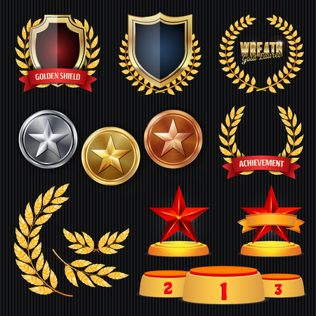 Vector Awards And Trophies Collection. Golden Badges And Labels. Championship Design. 1st, 2nd, 3rd Place. Golden, Silver, Bronze Achievement. Badge, Medal. Иллюстрация