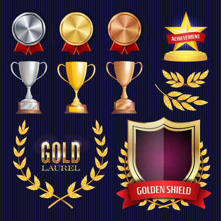 Vector Awards And Trophies Collection. Golden Badges And Labels. Championship Design. 1st, 2nd, 3rd Place. Golden, Silver, Bronze Achievement. Empty Badge, Medal Blank.