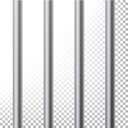 gridiron: Prison Bars Isolated Vector Illustration. Transparent Background. 3D Metal Jailhouse, Prison House Grid Illustration Illustration