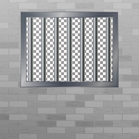 security council: Window In Pokey With Bars. Brick Wall. Vector Jail Break Concept. Prison Grid Isolated.