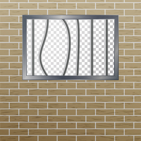 Prison Window With Bars And Brick Wall. Vector Pokey Concept. Prison Grid Isolated. Illustration