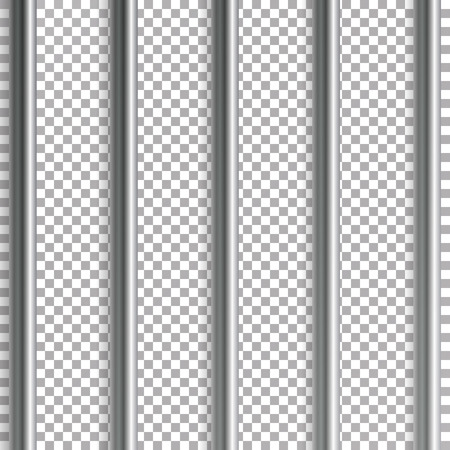 감옥 바 벡터 일러스트 레이 션. 투명 한 배경에 고립. 3D 철 또는 강철 형무소 집 격자 그림