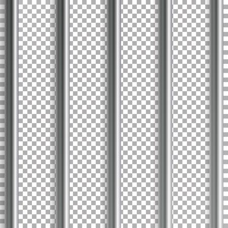Jail Bars Vector Illustration. Isolated On Transparent Background. 3D Iron Or Steel Prison House Grid Illustration