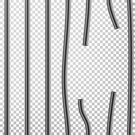 Broken Prison Bars Vector. Way Out To Freedom. Jail Break Concept. Prison-Breaking Illustration. Transparent Background.