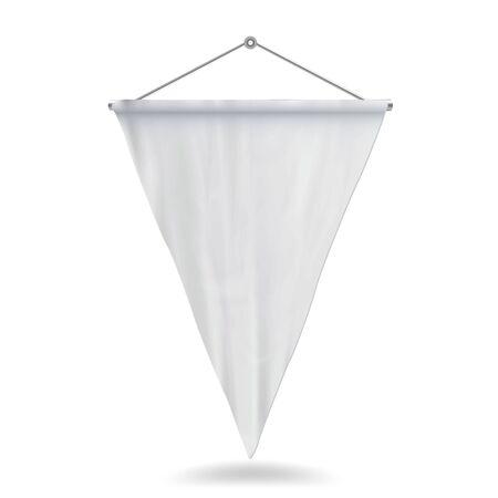 白いペナント テンプレート ベクトル イラスト。ペナントのモックアップを空の 3 D。