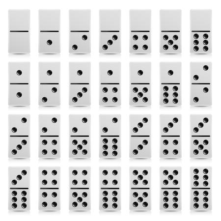 Domino instellen Vector realistische illustratie. Witte kleur. Volledige klassieke spel Domino's geïsoleerd op wit. Moderne collectie 28 stuks