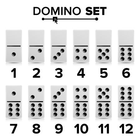 Domino Set Vector Realistic Illustration. White Color. Dominoes Bones Isolated On White. Modern Collection