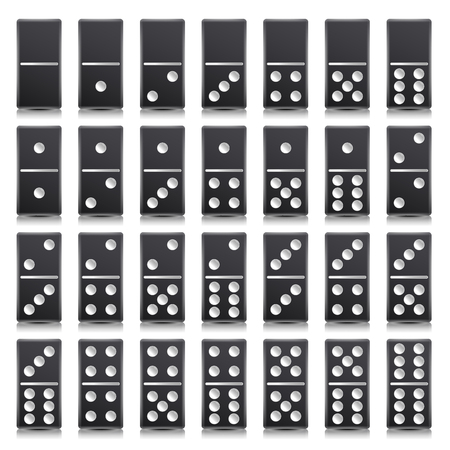 Domino Full Set Vector Realistic Illustration. Black Color. Classic Game Dominoes Bones Isolated On White. Top View. For A Game. 28 Pieces Çizim
