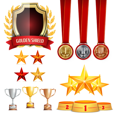 Trophy Awards Cups, Golden Laurel Wreath With Red Ribbon. Realistic Golden, Silver, Bronze Achievement Medals. Sports Placement Podium. Isolated Vector Illustration