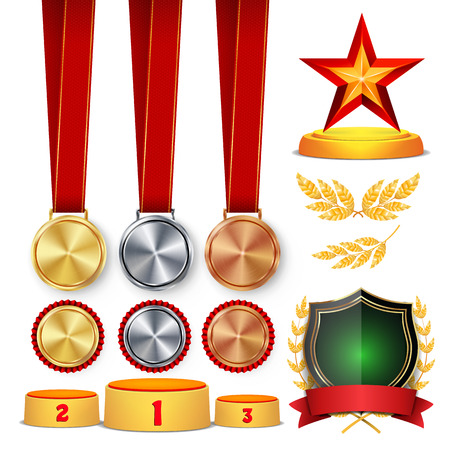 Ceremony Winner Honor Prize. Awards Cups, Golden Laurel Wreath With Red Ribbon And Gold Shield, Medals Template, Sports Placement Podium. 1st, 2nd, 3rd Place. Isolated. Vector Illustration Illustration