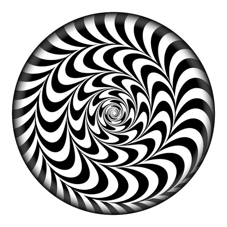 Radial Spiral Vector Psychedelic Illustration. Comic Rotation Effect. Black And White Twirl Rays Background.