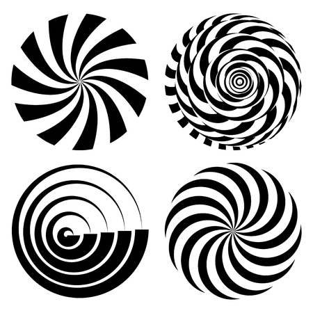 Radial Spiral Rays Set. Vector Psychedelic Illustration. Twisted Rotation Effect. Swirling Monochrome Shapes. Black And White Vortex Background. Black And White Hypnosis. Optical Art Illustration Vettoriali