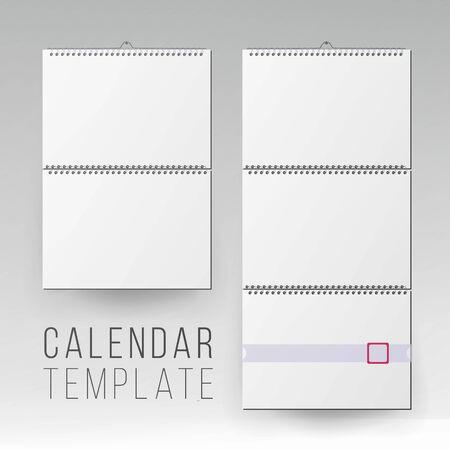 Wall Calendar Mock Up Vector. Template Square Spiral Calendar.