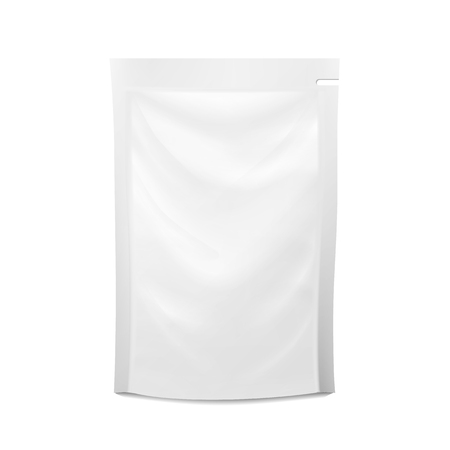 pouch: White Blank Plastic Spouted Pouch. Vector Doypack Food Bag Packaging. Template For Puree, Beverage, Cosmetics. Packaging Design. Vector Isolated Illustration.