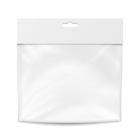 hang up: Plastic Pocket Vector Blank. Packing Design. Realistic Mock Up Template Of White Plastic Pocket Bag. Empty Hang Slot. Isolated Illustration