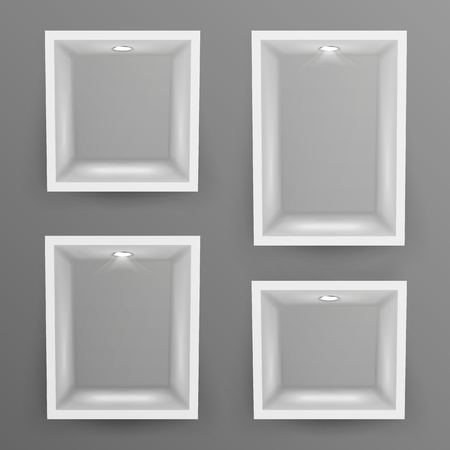 empty warehouse: Empty Show Window, Niche Set Vector. Abstract Clean Shelf, Niche, Wall Showcase. Good For Exhibit, Presentations, Display Your Product. Illustration