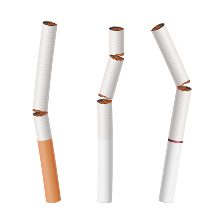 Broken Cigarettes Set Vector. Smoking Kills. Medical Healthcare Quit Smoking Concept. Classic Traditional Filter. Realistic Illustration. Isolated Ilustracja