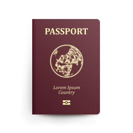 documentation: Passport With Map. Realistic Vector Illustration. Red Passport With Globe. International Identification Document. Front Cover. Isolated Illustration
