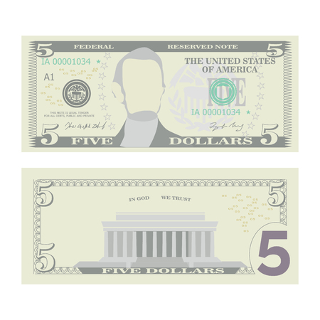 5 Dollars Banknote Vector. Cartoon US Currency. Two Sides Of Five American Money Bill Isolated Illustration. Cash Symbol 5 Dollars Çizim
