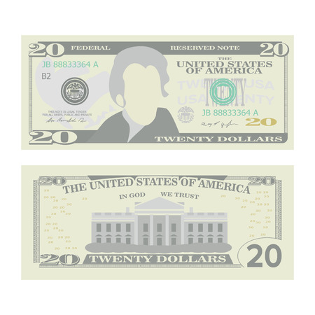 20 Dollars Banknote Vector. Cartoon US Currency. Two Sides Of Twenty American Money Bill Isolated Illustration. Cash Symbol 20 Dollars