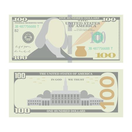100 dollar bankbiljet vector. Cartoon US urrency. Twee Kanten van Honderd Amerikaanse Geldrekening Geïsoleerde Illustratie. Cash-symbool 100 dollar