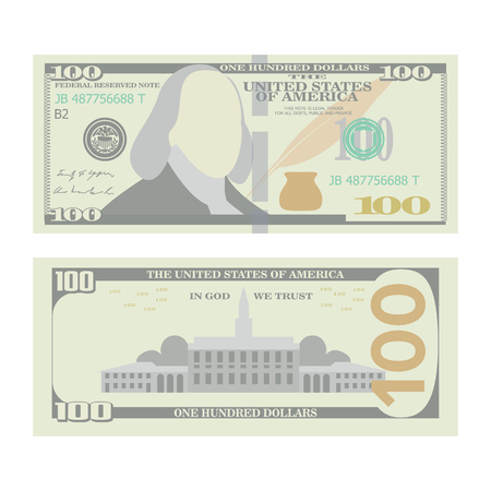 100 Dollars Banknote Vector. Cartoon US urrency. Two Sides Of One Hundred American Money Bill Isolated Illustration. Cash Symbol 100 Dollars