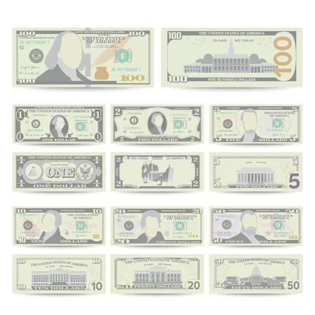 Dólares Conjunto De Billetes Vector. Dólar De La Historieta. Dos Lados De La Cuenta De Dinero Americana Aislado Ilustración. Símbolo del dólar del efectivo. Cada denominación de la nota de la moneda de los EEUU.
