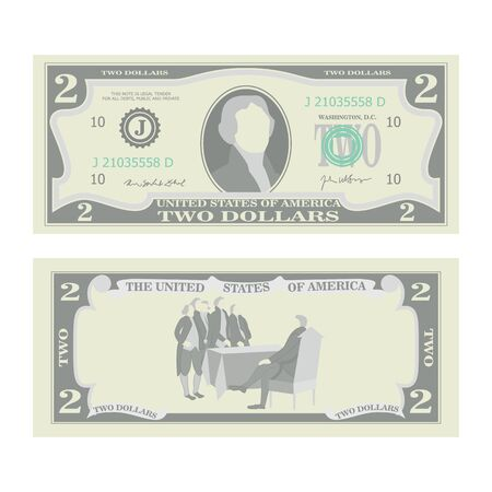 jefferson: 2 Dollars Banknote Vector. Cartoon US Currency. Two Sides Of Two American Money Bill Isolated Illustration. Cash Symbol 2 Dollars