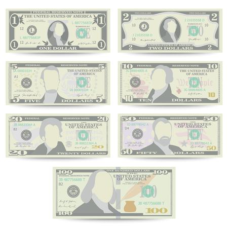 Dollar bankbiljet instellen Vector. Cartoon Amerikaanse valuta. Voorkant van Amerikaanse Geldrekening Geïsoleerde Illustratie. Cash Dollar-symbool. Elke coupure van US Currency Note. Vector Illustratie
