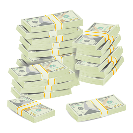 Realistic Dollar Stacks Vector. Banknotes. Money Bill Isolated Illustration. Illustration