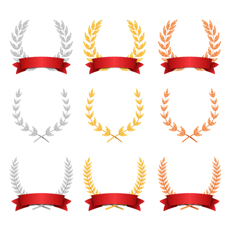 Laurel Wreath Trophy Set Vector. Award Placement Achievement. Realistic Gold Silver Bronze Laurel Wreath. Red Ribbon. Winner Honor Prize. Isolated Illustration Illustration