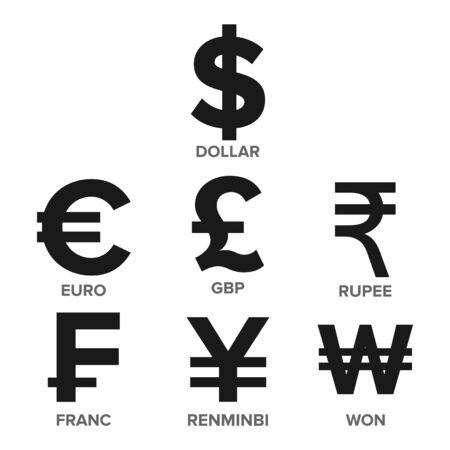 Currency Icon Set Vector. Money. Famous World Currency. Finance Illustration. Dollar, Euro, GBP Rupee Franc Renminbi Yuan Won Illustration