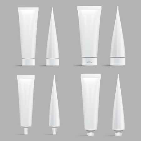 Cosmetic Tube Set. Vector Mock Up. Cosmetic, Cream, Shampoo, Tooth Paste, Glue White Plastic Tubes Set Packaging Realistic Illustration. Isolated