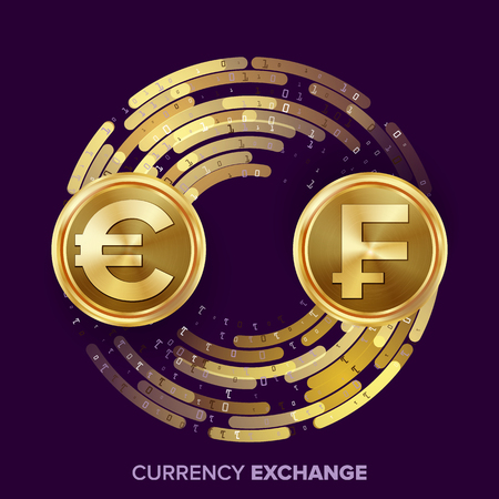 Money Currency Exchange Vector. Euro. Franc. Golden Coins With Digital Stream. Conversion Commercial Operation For Business Investment, Travel. Financial Or Banking Concept Illustration