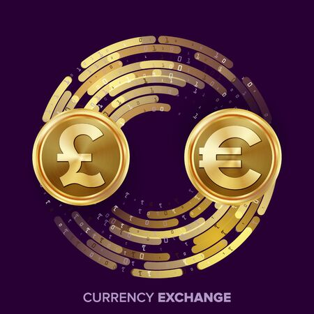 Money Currency Exchange Vector. GBP, Euro. Golden Coins With Digital Stream. Conversion Commercial Operation For Business Investment, Travel. Financial Or Banking Concept Illustration