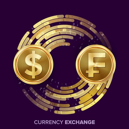 Money Currency Exchange Vector. Dollar, Franc. Golden Coins With Digital Stream. Conversion Commercial Operation For Business Investment, Travel. Financial Or Banking Concept Illustration
