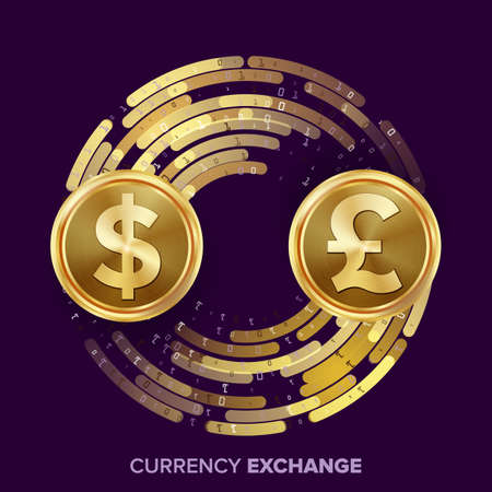 operation for: Money Currency Exchange Vector. Dollar, GBP. Golden Coins With Digital Stream. Conversion Commercial Operation For Business Investment, Travel. Financial Or Banking Concept Illustration