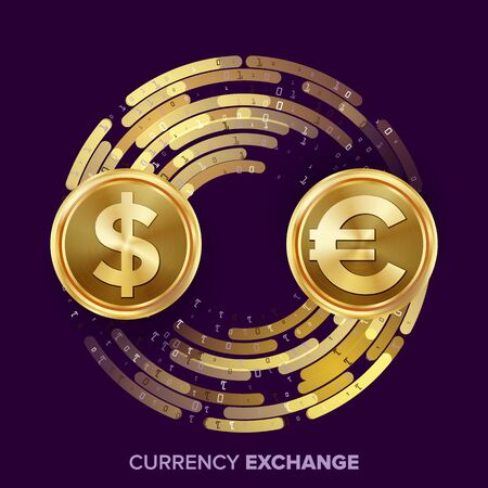 rate: Money Currency Exchange Vector. Dollar, Euro. Golden Coins With Digital Stream. Conversion Commercial Operation For Business Investment, Travel. Financial Or Banking Concept Illustration