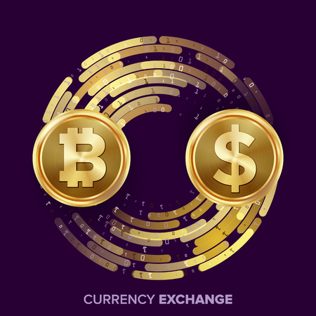 currency converter: Digital Currency Money Exchange Vector. Bitcoin, Dollar. Fintech Blockchain. Gold Coins With Digital Stream. Cryptography. Conversion Commercial Operation. Business Investment. Financial Illustration