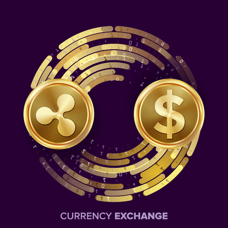 rate: Digital Currency Money Exchange Vector. Ripple Coin, Dollar. Fintech Blockchain. Gold Coins With Digital Stream. Cryptography. Conversion Operation. Business Investment. Financial Illustration Illustration